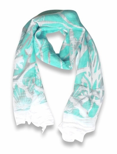 Mint Beach Nautical Shell Seahorse Coral Reef Lightweight Fringe Scarf