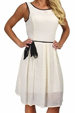 Cream  Fabric Skater Dress Criss Cross Back & Tie Belt
