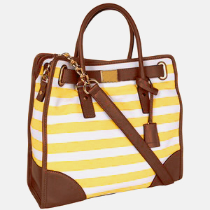 Beautiful Lock&Tied Scarf Stripe Tote Bag (Yellow)