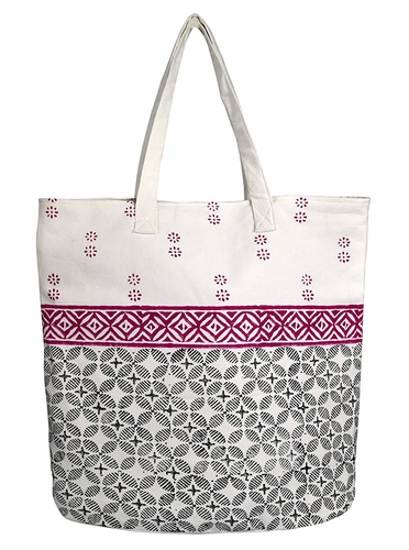 Magenta Cotton Canvas Tote Bag Handbags Shoulder Bags