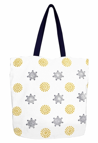 Beautiful Pattern Cotton Canvas Tote Bag Handbags Shoulder Bags Boho Sun and Stars