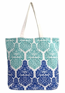 Damask Teal Cotton Canvas Tote Bag Handbags Shoulder Bags