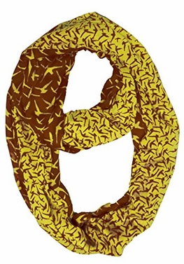 Brown Yellow Beautiful Vintage Two Colored Bird Print Infinity Loop Scarf
