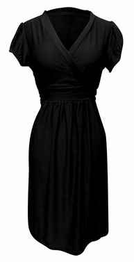Black Womens Cap Sleeve Casual V Neck Mini Day Skater Dress