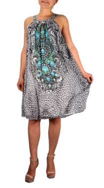 Turquoise Charleston Frock Midi Dress Embellished Tunic Neckline
