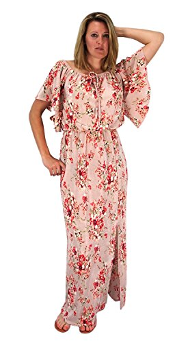 420998d7e7 Mauve Bell Sleeves Floral Print Pleat Fabric Tiered Side Slit Maxi Dress