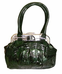 Green Shell Metal Embellished Clasp Top Handle Handbag Purse