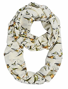Grey Bird Print Infinity Loop Scarf