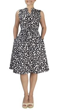 Black Polkadot 100% Cotton Mid Length Vintage A-Line Dress