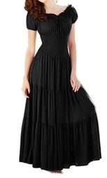 Black Gypsy Boho Cap Sleeves Smocked Waist Tiered Renaissance Maxi Dress