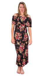 Black Floral Print Pleat Fabric Off Shoulder Maxi Dress