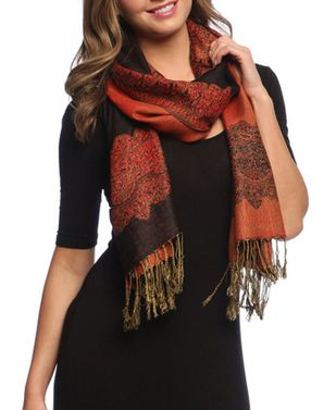 Black Red Ravishing Reversible Pashmina Shawl