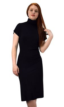 Black Turtle Neck Short Sleeve Midi Dress