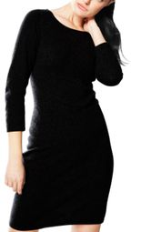 Black Luxurious Warm and Soft 100% Cashmere Bodycon Sweater Dress