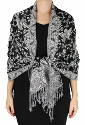 Sophisticated Reversible Paisley Pashmina Floral Shawl (Black/White)