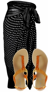 Black & White Polka Dot Sarong w/ Orange Fiona Sandal