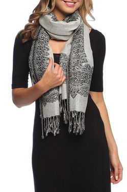Black White Ravishing Reversible Pashmina Shawl