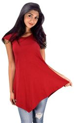 Red Cotton Summer Tank Top Tunic Handkerchief Hem Shirt