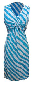 Blue Light Grey Trendy Knotted Tank Sleeveless Striped Mid Length Sundress (Small)