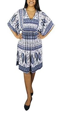 Blue Vintage Casual Summer Batwing Midi Tunic Dress S