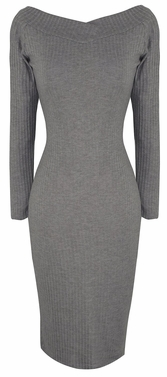 Grey Ribbed Bodycon Bodice Slim Fit Evening Dress