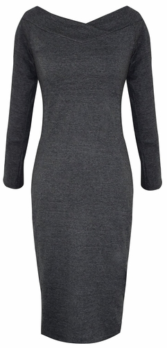 Bodycon Bodice Slim Fit Evening Dress (Solid Grey)