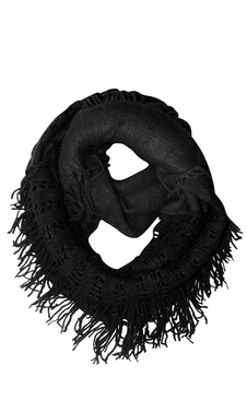 Warm Bohemian Crochet Hand Knitted Fringe Infinity Loop Scarf Wrap Black Square