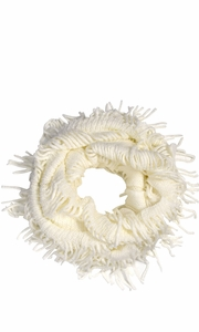 White Bohemian Crochet Hand Knitted Fringe Infinity Loop Scarf Wrap Square
