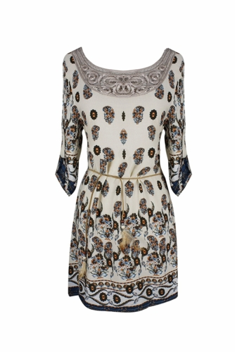 Cream Bohemian Neck Tie Vintage Ethnic Style Summer Shift Dress