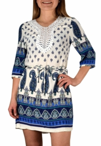 Bohemian Neck Tie Vintage Ethnic Style Summer Shift Dress (White)