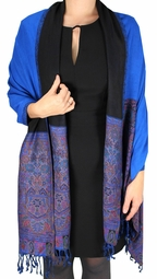 Blue Paisley Reversible Double Layer Pashmina Shawl