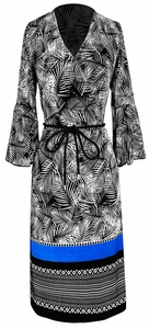 Black-White Boho Tribal Surplice Mid-Length Shift Dress with 3/4 Bell Sleeves