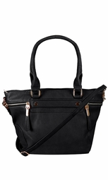 Boutique PU Leather Womens Shoulder Bag Top-Handle Handbag Black