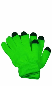 Neon Green Winter Gloves For iPhone iPad Android Any Touch Screen
