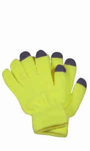 Neon Yellow Winter Gloves For iPhone iPad Android Any Touch Screen