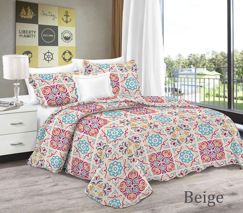 Bright Pink Hues Bohemian Style Patchwork Quilt Set Coverlet Bedspread 3 Piece Set