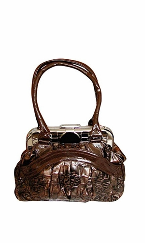 BRITTANY Vintage Clasp Doctor Style Large Handbag Shoulder Bag Purse (Coffee)
