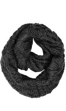 Black Cable Knit Chuny Winter Warm Infinity Loop Scarves