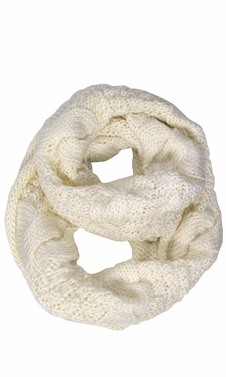 Cream Cable Knit Chuny Winter Warm Infinity Loop Scarves