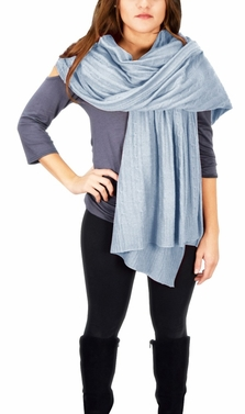 Cable Knit Warm Soft Certified Cashmere Oversized Scarf Shawl (Baby Blue)