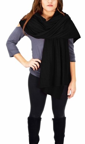 Cable Knit Warm Soft Certified Cashmere Oversized Scarf Shawl (Black)