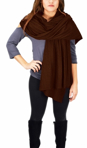 Cable Knit Warm Soft Certified Cashmere Oversized Scarf Shawl (Brown)