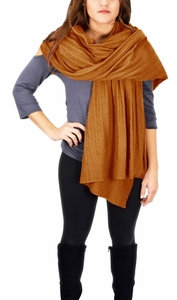 Cable Knit Warm Soft Certified Cashmere Oversized Scarf Shawl (Tan)