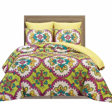 Sage Camellia Reversible Vintage Vibrant Floral Design Soft Touch 6 Piece Comforter Bed Set (King)