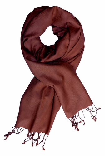Chocolate Brown Cashmere & Silk Pashmina Shawl