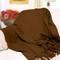 Fabulous Pure Cashmere Throw (Chocolate Brown)