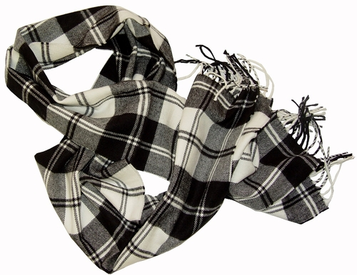 Black Grey Check Cashmere Feel Mens Scarves