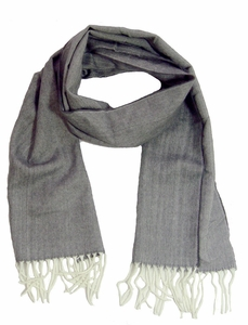 Grey/White Cashmere Feel Mens Scarves