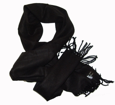 Solid Black Cashmere Feel Mens Scarves