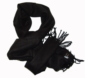Cashmere Feel Mens Scarves (Solid Black)